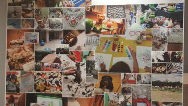 Roll up o wymiarach 200cm x 200 cm zaweirający zdjęcia z różnych projektów w Ośrodku Działaj Lokalnie Kraina św. Anny