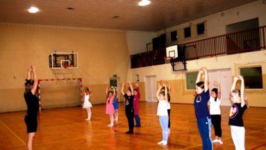 Zdjęcie przedstawia uczestników zajęć baletu dla dzieci na sali gimnastycznej podczas ćwiczeń.