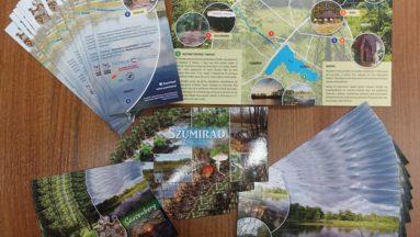 Zdjęcie przedstawia pocztówki i egzemplarze broszury informacyjnej rozłożone na stole.