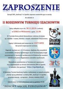 Plakat zapraszający doudziału wIIIrodzinnym turnieju szachowym