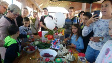 Zdjęcie przedstawia osoby w różnym wieku dookoła stołu, na którym rozłożone są różne produkty spożywcze, podczas warsztatów kiszenia.
