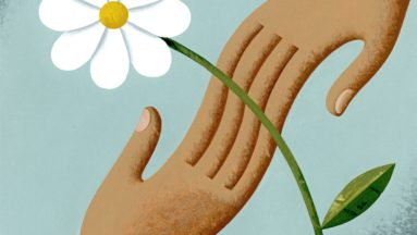 Ilustracja przedstawia dłonie w geście pomocy oraz biały kwiat.