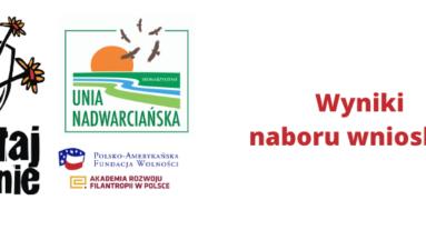 Grafika przedstawia logo Działaj Lokalnie i Stowarzyszenia Unia Nadwarciańska wraz z napisem: wyniki naboru wniosków