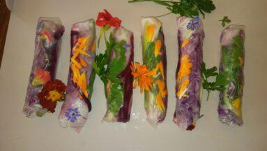 Na zdjęciu widać przygotowane spring rolls, udekorowane kwiatami