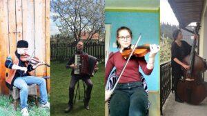 Kolaż przedstawiający muzyków grających naróżnych instrumentach