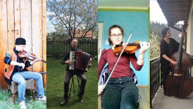 Kolaż przedstawiający muzyków grających na różnych instrumentach