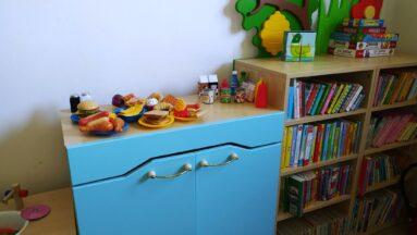 Na zdjęciu widać półkę z książkami i komodę na której stoją zabawki