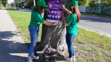 Osoby przyklejają plakat informacyjny do drzewa