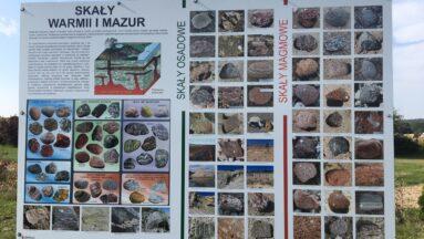 Na zdjęciu widać tablice edukacyjne w ogrodzie
