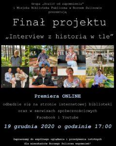 Plakat zapraszający napremierę finału projektu online.
